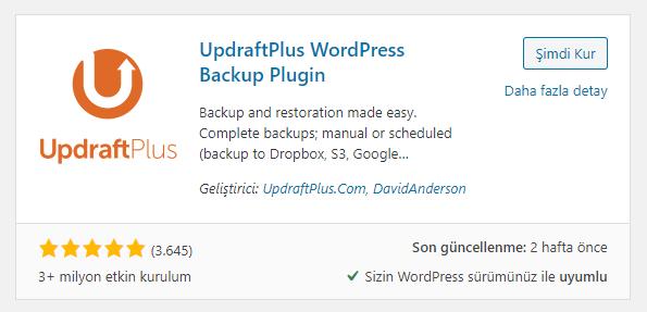 Wordpress UpdraftPlus Yedekleme Eklentisi