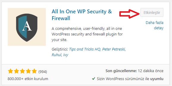 All in One WP Security and Firewall eklentisi kurulumu