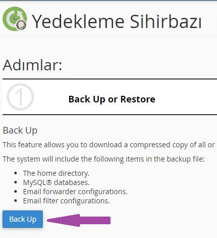 cPanel Yedek Alma-Backup