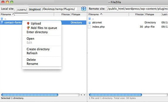 Wordpress FTP ile eklenti yükleme