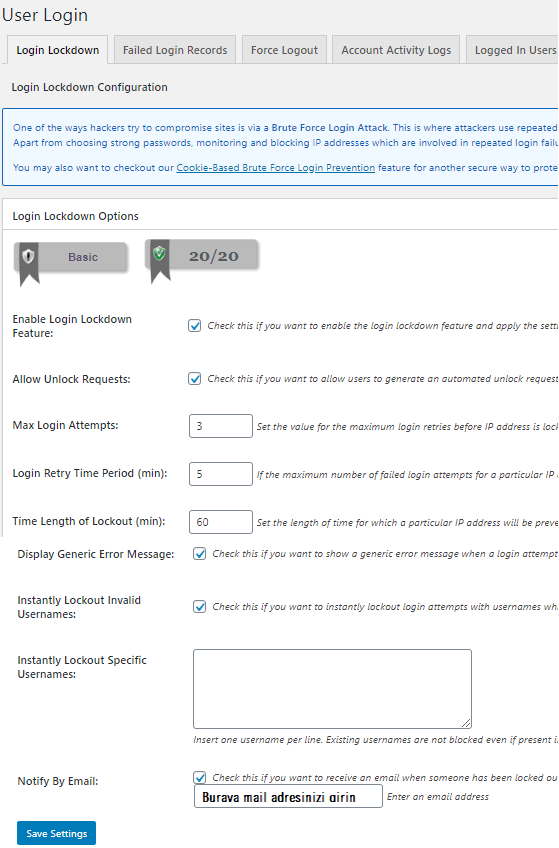 kullanici girisi user login ayarlari