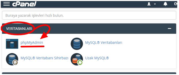 phpMyAdmin Giriş