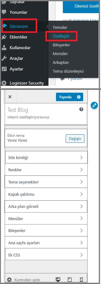 Wordpress blog açmak/Tema Özelleştirme