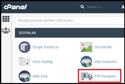 FTP ile WordPress Kurulumu-FTP Hesapları