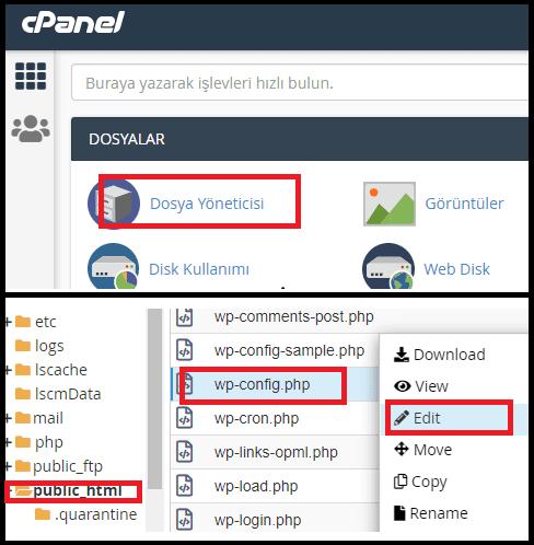 Dosya düzenlemeyi devre dışı bırakın-wp-config.php