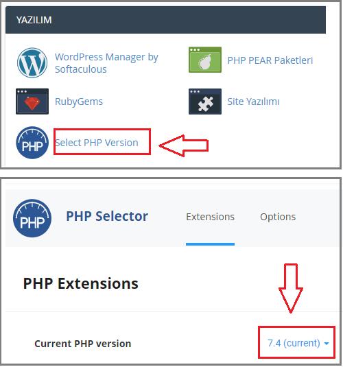 Wordpress resim yükleme hatası çözümü-PHP Sürümü Değiştirme
