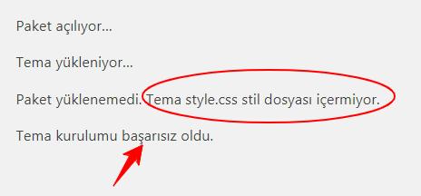 WordPress Tema style.css Stil Dosyası içermiyor Hatası