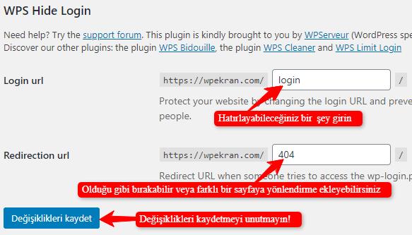 WPS Hide Login Eklentisiyle wp-admin ve wp-login url değiştirme
