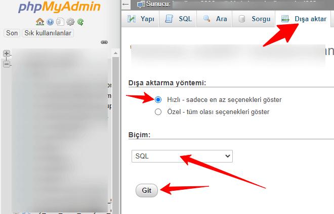 phpMyAdmin Veritabanı Yedekleme