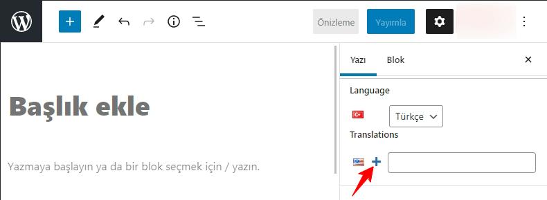 Polylang Yeni Çeviri Ekleme
