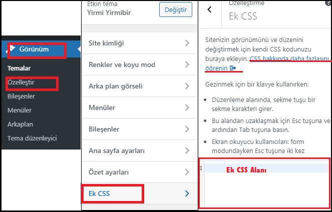 WordPress Tema Özelleştirici-Ek CSS
