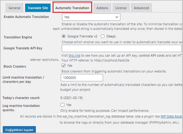 TranslatePress Otomatik Çeviri Ayarları
