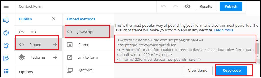 123FormBuilder ile Blogger İletişim Formu Oluşturma-3