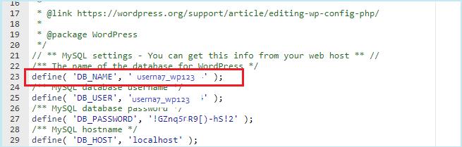 WordPress Veritabanı Adı Öğrenme