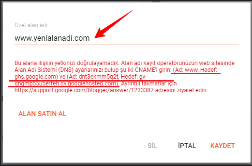 Blogger Domain Yönlendirme CNAME Kayıtları