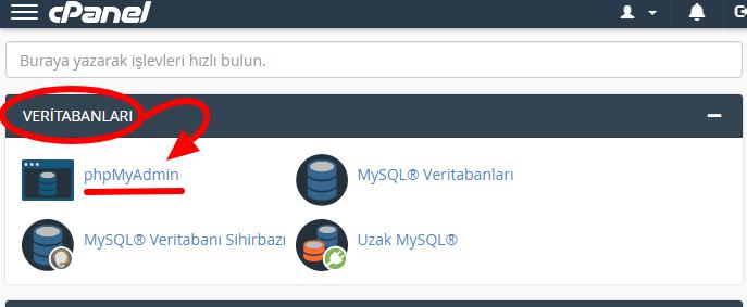 cPanel+Veritabanları+phpMyAdmin