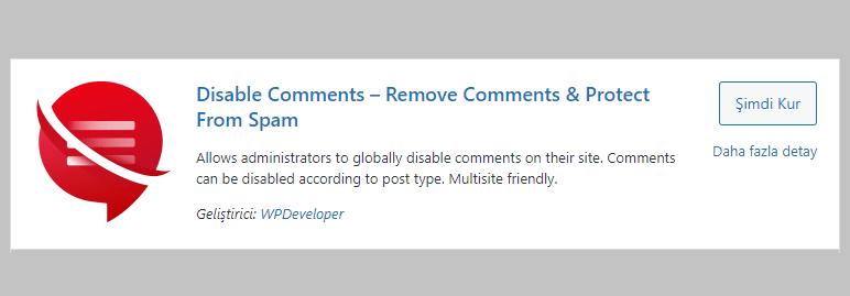 Disable Comments WordPress Eklentisi