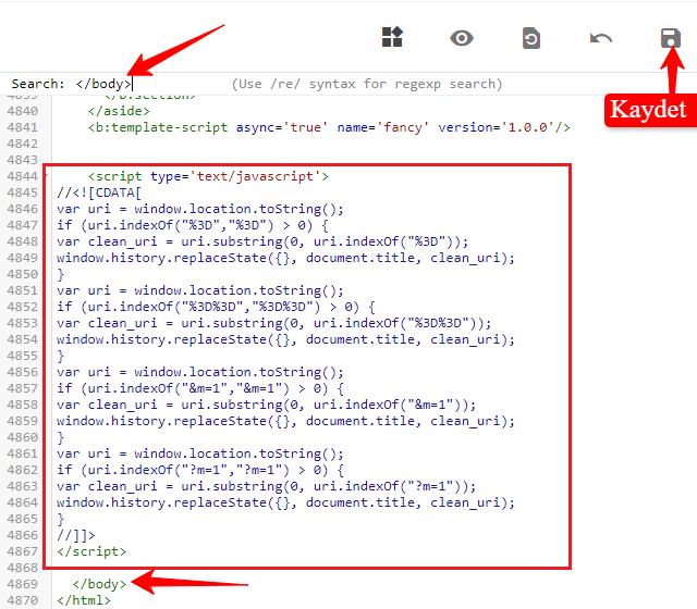 Blogger uzantısını kaldırmak için kod ekleme