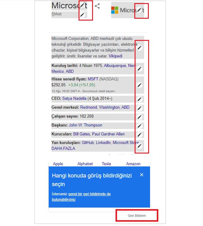 Google Bilgi Paneli Düzenleme Bildirimi
