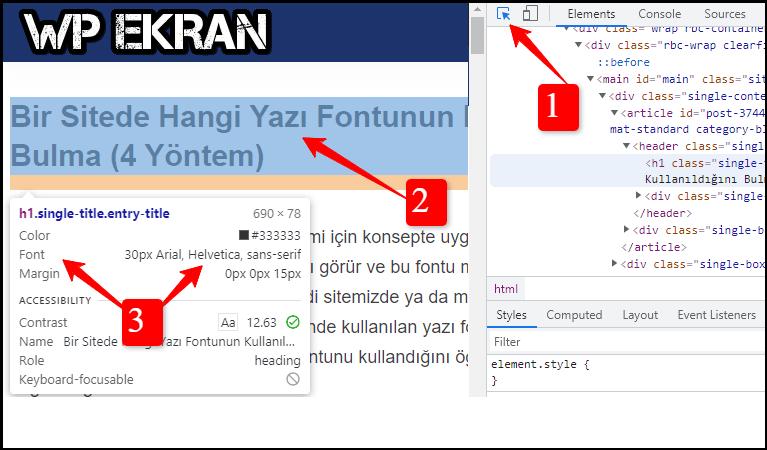 Web Sitede Kullanılan Yazı Fontunu Öğrenme
