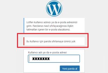 WordPress şifre sıfırlama seçeneğini devre dışı bırakma