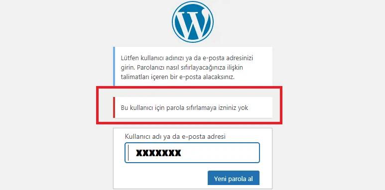 WordPress'te şifre değiştirme seçeneğini devre dışıbırakma