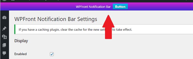 WPFront Bildirim Çubuğu Önizleme