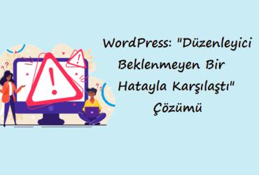 """WordPress: """"Düzenleyici Beklenmeyen Bir Hatayla Karşılaştı"""" Çözümü"""