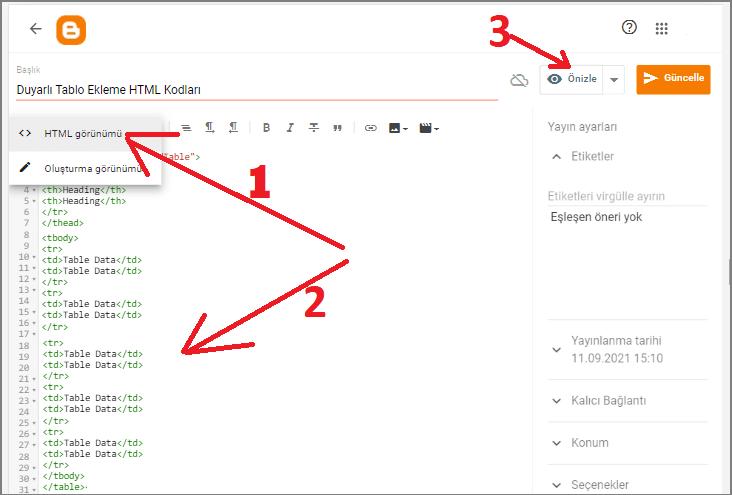 HTML Kodu Kullanarak Blogger'a Tablo Ekleme