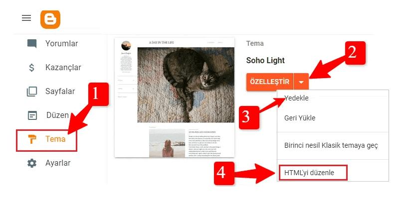 Blogger Tema>HTML'yi düzenle